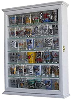 Shot Glass Display Case Wall Curio Cabinet, Glass Door, Solid Wood SCD06B WH