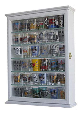 Wall Collectors Curio - Shot Glass Display Case Wall Curio Cabinet, Glass Door, Solid Wood SCD06B-WH