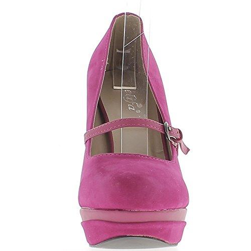 bridas 11 ChaussMoi plataforma Shoes Fuchsia 5 de con a cm tacones y gamuza aspecto aTzBqxwTt