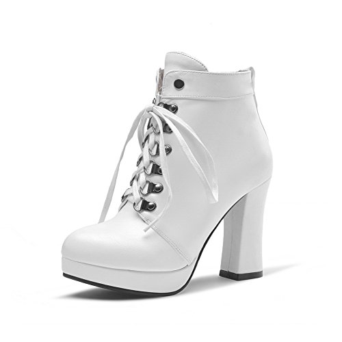 Girls Bandage Imitated Leather Platform Boots 1TO9 Chunky White Heels vOdwWxp