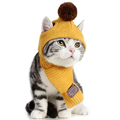 Bonaweite Dog Cat Pet Woolen Scarf Hat Knit Set, Winter Warm Cozy Accessories Puppy Kitten Small Cats Dogs in Cold Weather -