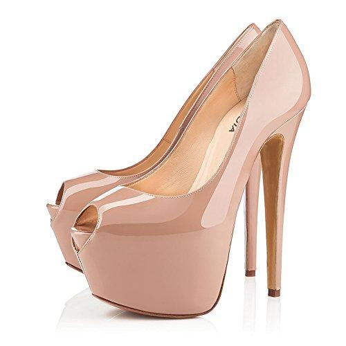 HUAN Nude Sandales Robe Toe Chaussures Noir Soirée Une Mariage Soirée Peep Pêche pour Femmes Et Mariage de Talons axnRqwaWr0
