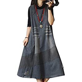 Women Long Maxi Denim Overalls Dress