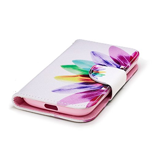 Funda para Nokia 1 , IJIA Colorido Girasol TPU + PU Ranuras para Tarjetas de Crédito Flip Folio Caja [Estilo Libro,Soporte Plegable ] Cover Tapa Caso Parachoques Carcasa Cubierta para Nokia 1 (4.5)