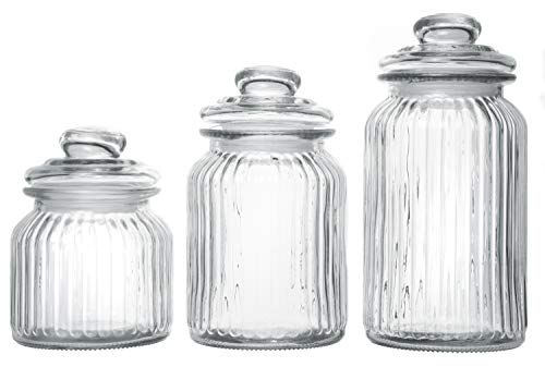 (Exclusive Line Ripple Food Storage Tall Glass Jar Canister with Airtight Lid, 42.5 Ounces, 31.8 Ounces, 21.3 Ounces - 3-Piece Set)