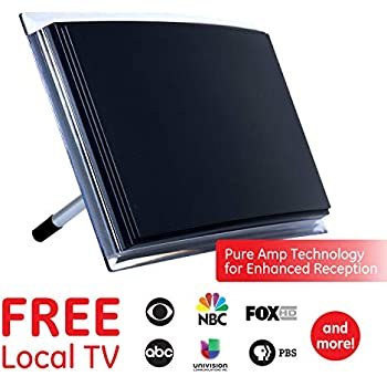 ge black indoor tv antenna, perfect home decor long range antenna, digital,  hdtv antenna, smart tv compatible, 4k 1080p vhf uhf, 6ft coaxial cable,