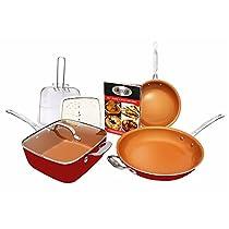 Gotham Steel 1738 Tastic Bundle 7 Piece Cookware Set Titanium Ceramic Pan, Red