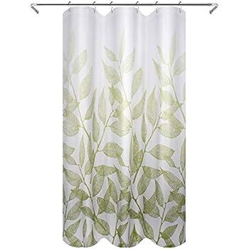 "Green//White InterDesign 35633 Leaves Fabric Shower Curtain Stall 54/"" x 78/"""