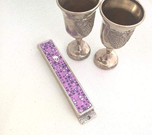 Purple Retro Design Handmade Mezuzah Case For Bat-Mitzva Special Gift, Mezuzah Cover with Scroll For Wedding And Housewarming Gift (Scroll Plated Silver Classic)