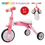 XJD 2 in 1 Kids Glide Tricycles Toddler Tricycle Baby Balance Bike Trike for 2 Years Old and Up Boys...