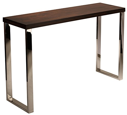 Cortesi Home Achille Contemporary Console Table with Chrome Legs and Espresso Wooden Top