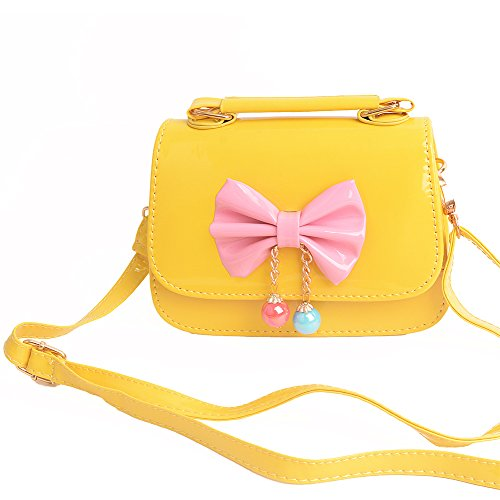 Aligle Cute Little Girls Fashionable Handbag Small Preteen Girl's Toy Kid Shoulder Purse Bag Mini Vintage Sweet Bowknot Adjustable PU Casual Messenger Shoulder Shoulder Bag Gift (Yellow)