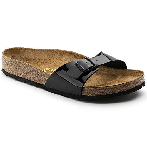 Birkenstock Madrid Sandal - Women's Black Patent Birko-Flor 36