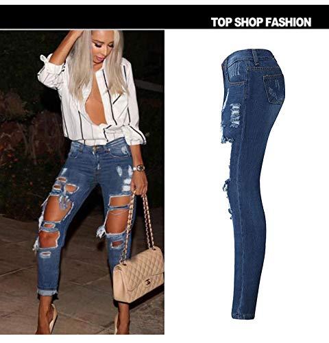Azul Jeans Rectos Marino Pantalones Ajustados Y DAMENGXIANG Agujeros Sueltos De Mujer za1qFw