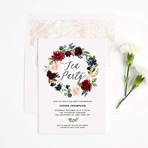 Dozili Floral Tea Party Invitation Watercolor Burgundy and Blue Floral Wreath Tea Party Invitation]()