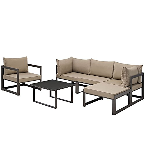 Fortuna 6 Piece Outdoor Patio Sectional Sofa Set in Brown Mocha price