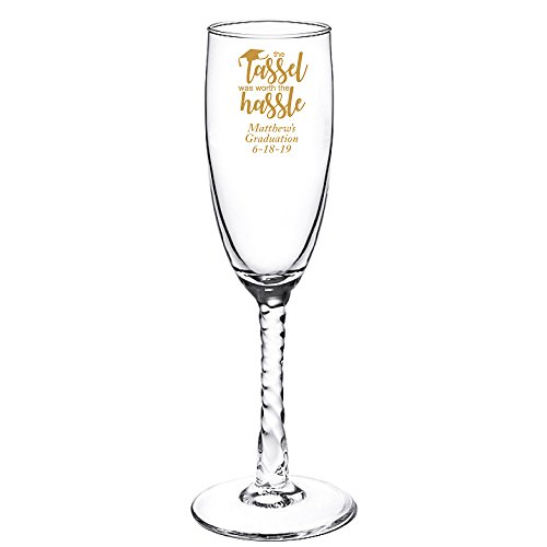 Personalized Color Printed Twisted Stem Champagne Flute - The Tassel Was Worth the Hassle - Gold - 24 pack ()