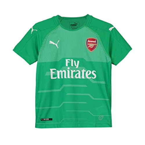 PUMA 2018-2019 Arsenal Home SS Goalkeeper Football Soccer T-Shirt Jersey (Green) - Kids
