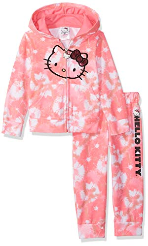 Hello Kitty Baby Big Girls' 2 Piece Embellished Active Set, Pink Tie Dye, 12 (Terry Tie Dye)