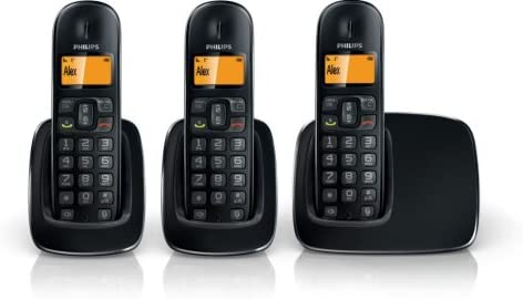 Philips CD191 Trio - 3 teléfonos fijos inalámbricos, color negro (importado): Amazon.es: Electrónica