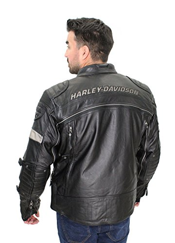 Harley-Davidson Mens FXRG Triple Vent System Switchback Reflective Black Leather Jacket 98095-15VM (Large) ()