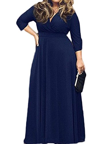 WANGXD Women's Solid V-Neck 3/4 Sleeve Plus Size Party Dress Dark Blue4X Light