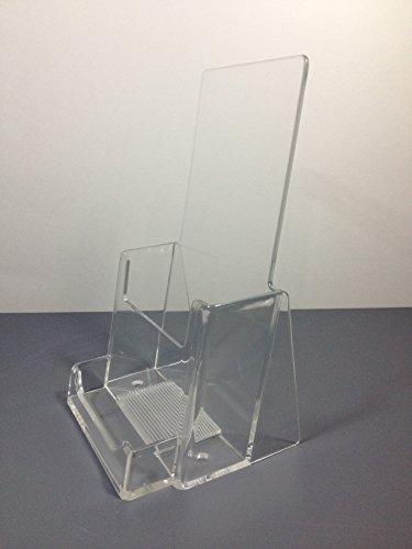 Slim Jim Single (Clear Acrylic Brochure Holder with Business Card Holder)