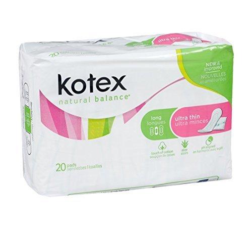 Kotex Natural Balance Thin Long Unscented No Wings 20ct (Pack of 4)
