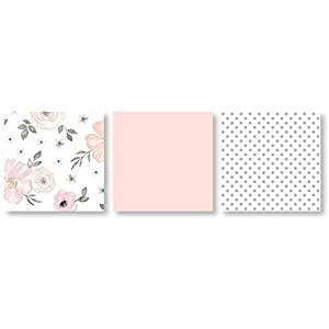 4 pc. Blush Pink, Grey and White Watercolor Floral Baby Girl Crib Bedding Set without Bumper by Sweet Jojo Designs – Rose Flower Polka Dot