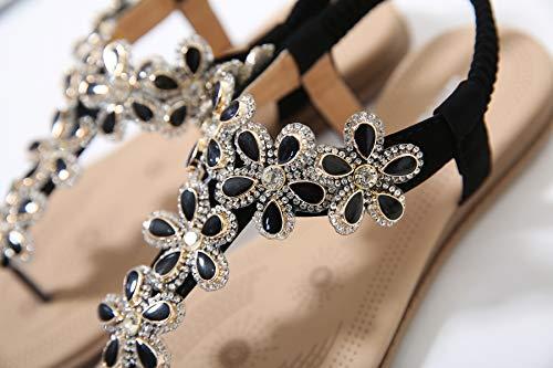 para Informal Zapatos de EU Morbuy de De Roma 40 Y imitación Sandalias Mujer Mujer Planas 45 Diamante Gran Sandalias Negro TamañO Negro 35 Sandalia mm Cómodo Verano Elegante Bohemia Playa 250 qqO8wH