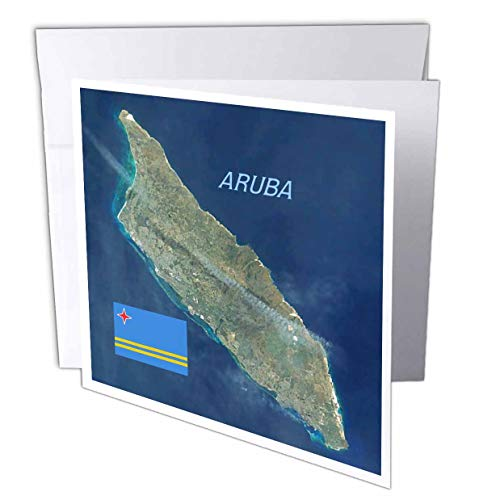 - 3dRose Lens Art by Florene - Topo Maps and Flags - Image of Aerial Topo View with Flag of Aruba - 12 Greeting Cards with envelopes (gc_306862_2)