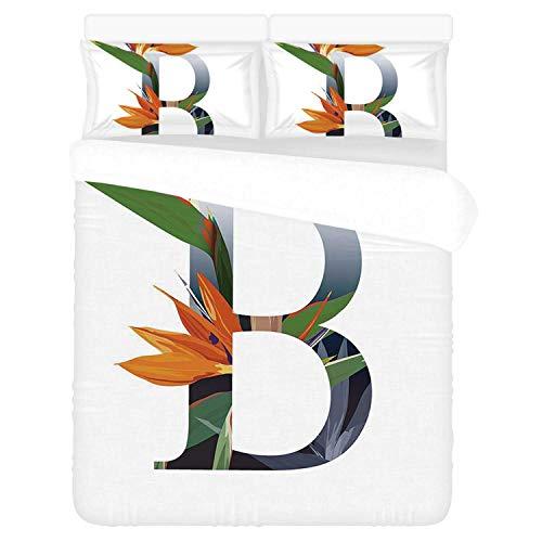 "Letter B Comfortable 3 Piece Bedding Set,Letter B with Bird of Paradise Flower Alphabet Character Font Design Print Decorative for Home,Duvet Cover:86""L x 70""W,Pillow Cases:30""L x 20""W"