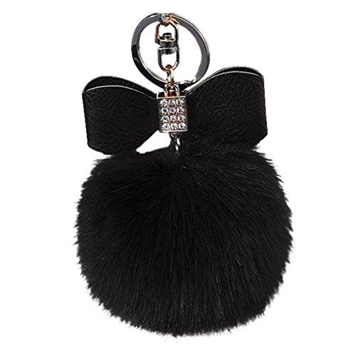 - BCDshop Cute Diamond Faux Rabbit Fur Ball Fox Bowknot Keychain Bag Plush Car Key Ring Pendant 10cm Xmas Gift (Black, alloy)