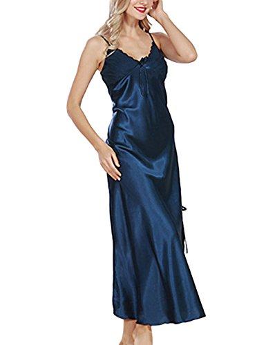 YesFashion femme sexy col V sling côté split slim longue robe bretelle de nuit en soie imitation Bleu XL