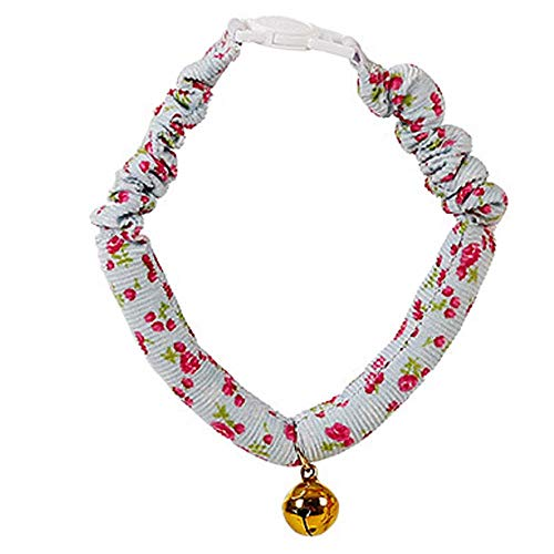 NDY Cat Necklace, Collars, Neck Circumference, with Copper Bells, Cute, Fresh, Style, Small Flower cat,Blue ()