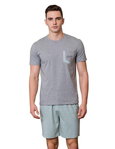 QianXiu Verano Ropa de Noche para Hombre Ropa de Dormir de algodón Ropa de Dormir de Manga Corta Camiseta Superior & Pantalones Cortos Pijama clásico ...