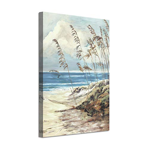 """Abstract Arts Coastal Landscape Picture: Blue Ocean Sand Silver Foil Painting Print on Canvas (24"""" x 36"""" x 1 Panels)"""