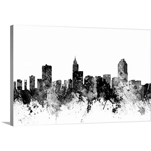 Raleigh North Carolina Skyline Canvas Wall Art Print, 18