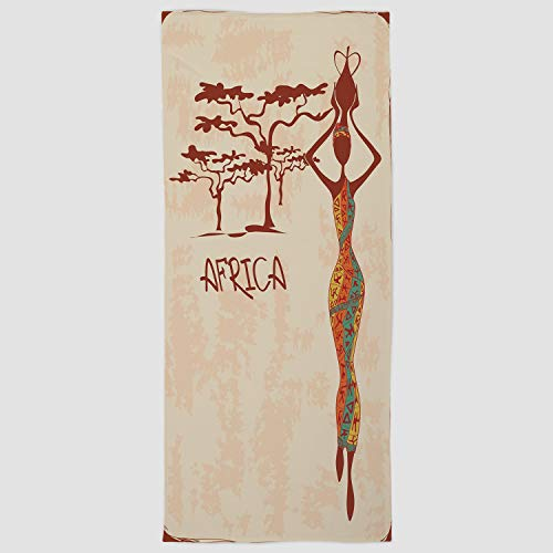 Cotton Microfiber Hand Towel [ African Woman,Vintage Africa Themed Illustration Slim Indigenous Girl Figure Colorful Dress Decorative,Multicolor ] for Hotel SPA Beach Pool Bath