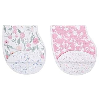 "aden + anais Burpy Bib, 100% Cotton Muslin, Soft Absorbent 4 Layers, Multi-Use Burp Cloth and Bib, 22.5"" X 11"", 2 Pack, Mon Fleur, 2 Pack"