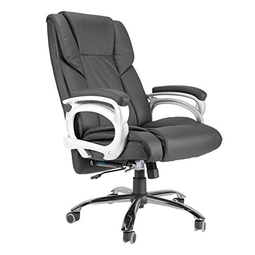 Extra Wide Armrest - Happy Habor Extra Wide Seat High Back PU Executive Home Reclining Black Swivel Big Office Chair