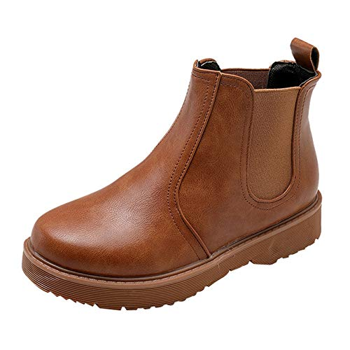 AIMTOPPY Women's Booties Round Head Solid Color Flat Bottom with Martin Boots (US:8, Brown) by AIMTOPPY Shoe