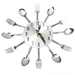 Najer Novel Stainless Steel Knife Fork Spoon Shape Decorative Wall Clock