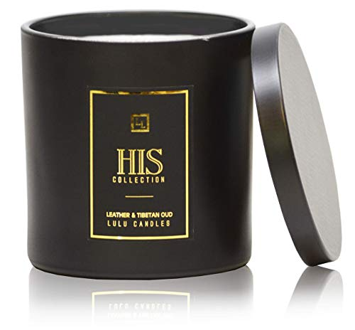 For Men - Leather & Tibetan Oud - Premium Fragrance Soy Wax Candle Collection - 9 Oz | 255 g (Buy Candle Scents)