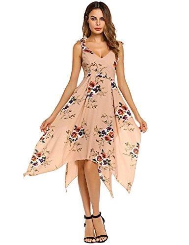 AL'OFA Khaki Beach Print Flowy Women's Boho V Dress Dress neck Floral Maxi 44qgrP