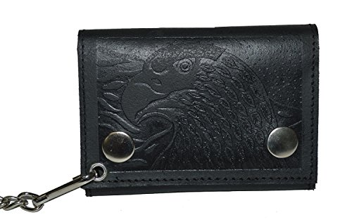 BLACK GENUINE LEATHER Trifold Biker's Eagle Wallet ID Card Holder With - Bikers Wallet Holder Leather
