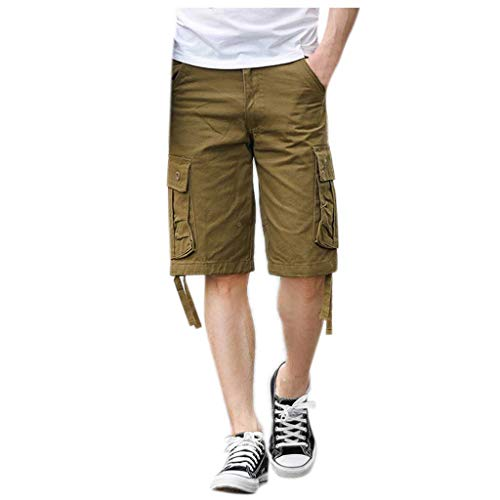 - XLnuln Men's New Dungarees Belted Cargo Short Style Cotton Multi-Pocket Overalls Shorts Fashion Pant Yellow
