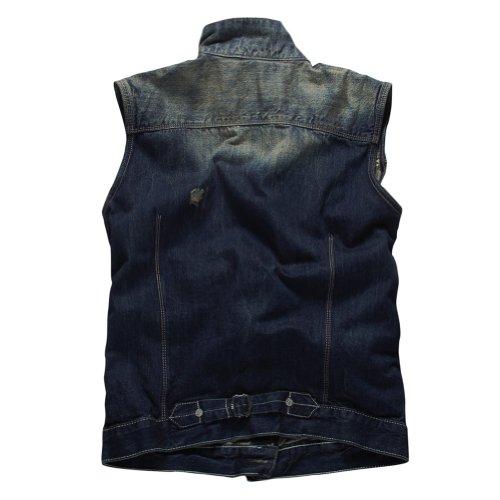 Match Men's Retro Cow Denim Washed Waistcoat Vest #G0307