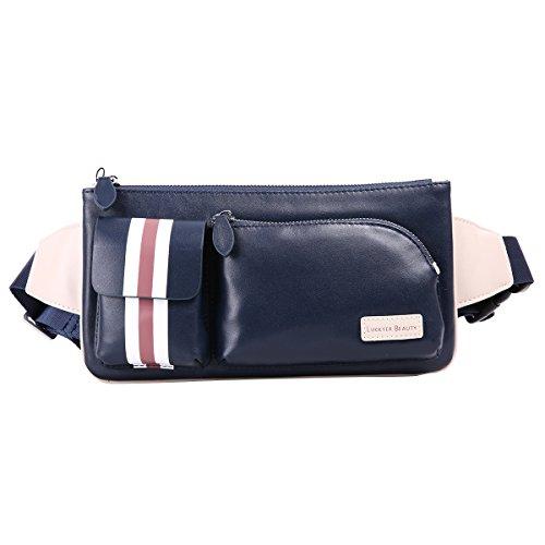 azul trabajo o mochila de bolso diario cuero para con bandolera capa cuero color pecho primera piel Leathario La hombres Azul para ZwAUqA