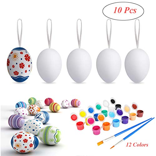 DIY Easter Eggs for Crafts Plastic Easter Eggs Toys Easter Eggs Decorations, Hanging Plastic White Eggs with Rope Artificial Egg DIY Decor Egg 10 Pcs with 12 Colors Painting Board ()